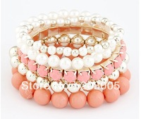 (Min order$10) Free shipping!European and American Fashion bead bangle temperament multilayer rhinestone crystal Bracelet #061