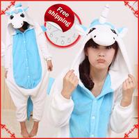 Festival Carnival Novelty Animal Anime Blue unicorn Autumn & winter hooded pajamas,one piece Halloween party Cosplay Costume