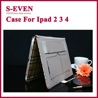 Hot selling grid stripe flip pouch Fiber wallet cover case for ipad 2 3 4, retail package