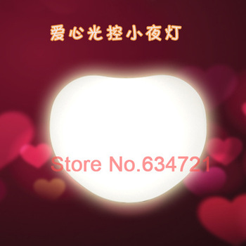 3PCS/Lot AC 220V Creative Heart-shaped LED Night Light Control Sensor Energy Saving Lamp Headlights   Wall Lights Free Shipping