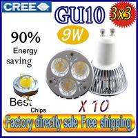 50% off Factory directly sale 10pcs/lot CREE Bulb led bulb GU10 9w 3x3W 85-265V Dimmable led spotlight Light lamps free shipping