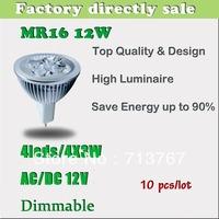 50% off Factory directly sale 10pcs/lot CREE Bulb led bulb MR16 12w 4x3W AC/DC 12V Dimmable led Light  spotlight free shipping
