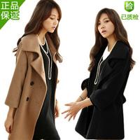Autumn and winter plus size woolen outerwear mm female medium-long cloak plus size woolen overcoat thickening women's trench