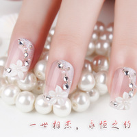 free shipping Beautiful bride nail false nail art white collar gentlewomen tablets false nail patch wedding 24