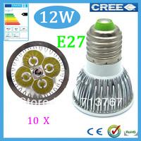 50% off Factory directly sale 10pcs/lot CREE Bulb led bulb E27 12w 4x3W 85-265V Dimmable led Light lamp spotlight free shipping