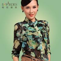 2013 autumn casual plus size clothing chiffon print shirt female long-sleeve shirt slim top