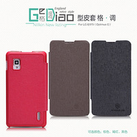 Free shipping  New arrival Nillkin Side Flip leather cove case for LG Optimus G E975  with retail package