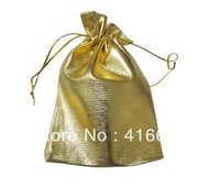 Wholesale! 100pcs a lot sell! Golden  Drawstring Organza Pouch Bag/Jewelry Bag,Christmas/Wedding Gift Bag