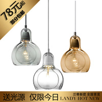 Brief personalized big bulb pendant light lighting bar glass bedroom lights