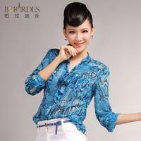 2013 summer fashion plus size serpentine pattern flower long-sleeve shirt female chiffon top