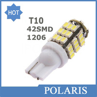 100pcs/lot Car Led t10 42 smd leds car led light bulbs W5W 194 1206/3020 42SMD 42led white color Side Interior Bulb