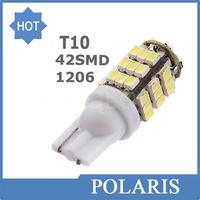 100pcs/lot Car Led t10 42 smd leds car led light bulbs W5W 194 1206/3020 42SMD 42led white color Side Interior Bulb