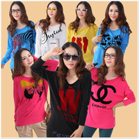 2013 plus size loose long-sleeve o-neck printing flock print t-shirt mm cotton t plus size top