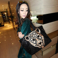 Bags fashion leopard head fashion paillette bag women's hand messenger bag