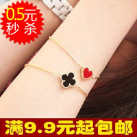 5041 popular fashion accessories vintage small heart four leaf clover love bracelet female