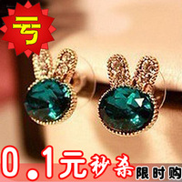2105 gem rhinestone exquisite rabbit stud earring fashion accessories fashion earring 2013