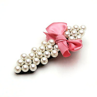 Elegant pearl hairpin brief pearl blank clip fashion bow hair pin female wholesale cheap free shipping