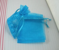 Hot Sales ! Organza Gift Bags Lake Blue Colors, 7 x 8.5cm / 4 inches With Drawstring. Sold Per Pkg of 100 pcs a0480