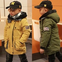 Children's clothing male child wadded jacket 2013 child cotton-padded jacket male child long design thickening cotton-padded