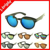 I-bright hot sale fashion retro sunglasses woman vintage rivet eyewear man unisex reflective mirror round frame free shipping