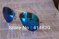 Top quality Fashion classics 3026 Men sunglasses brand designer women vintage sunglass blue frame gold lens