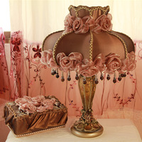 European pastoral fabric lace bedroom berth lamp dark shade resin base moved into gifts