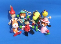 Wooden cartoon spring people, children's toys, spring, doll