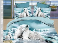 4 PCS cotton quilt cover bedding set 3 d animal polar bear pattern queen size