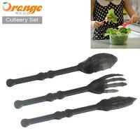 Freeshipping Creative Skull style Tableware Three-piece Cutlery Set Skull Claw knife fork spoon set Kitchenware 25set/lot