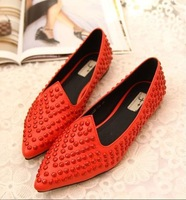 European and American big fashion rivets pointed shoes flat shoes with a single female red wedding shoes to help low