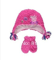 2013 children peppa pig Gloves Hat Set  Muffler