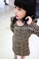 Wholesale cotton Leopard girls dress Fly sleeve design girl's dresses  Winter Autumn Baby cloth children clothes