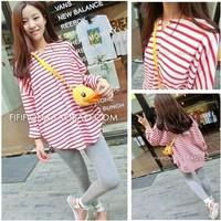 2014 sweet Stripe sweatshirt fabric long-sleeve loose girl  Sweatshirts women's Clothing new style  Hoodies