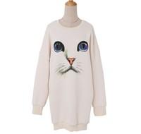 2014 New Fashion Women Funny Cat Printed  Animal Pullovers Long Sleeve Hoodies Sweet Sweatshirts High Quality Sweaters Tops
