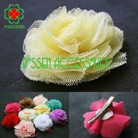 480pcs/lot 10colors 2.4 inches mesh flower hairpin,girls barrettes,baby hair flower,hot sale!