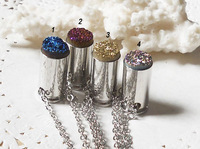 YA0682 Titanium Druzy Mixed Purple/Blue/Rainbow/Gold colors Round Cab Silver Bullet Silver Chain Necklace 65cm