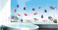 130x60cm Finding Nemo DIY Cartoon Fishes Bath Room Wall Sticker Decals for Nursery Kids Room Decors , 10pc/lot , free shipping!