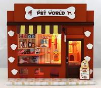 Pet world 3D DIY Educational Wooden Puzzle Dollhouse With Light Miniature House Building Block Sets Toy