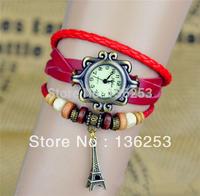 Wholesales 2014 New Arrivals High Quality Women Genuine Leather Vintage Watch bracelet Wristwatches Eiffel Tower Pendant 7Colors