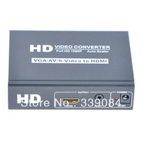 Free shipping, vga/av/cvbs/s-video+stereo audio input and hdmi+stereo audio output converter