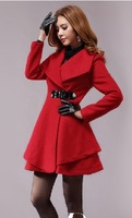 2013 women's fashion winter woolen overcoat elegant women's woolen high waist elegant outerwear female