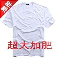 Plus size men's clothing fashion oversized white short-sleeve v-neck T-shirt Large T-shirt male plus size plus size