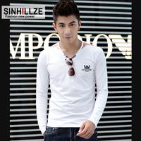 2013 autumn fashion men's clothing V-neck male long-sleeve T-shirt plus size male long-sleeve