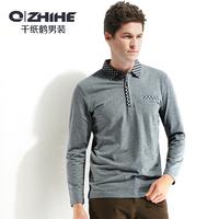 12 men's clothing 2013 autumn fashion brief fashion long-sleeve casual turn-down collar t-shirt 155