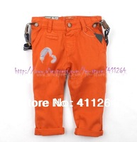 Retail (0-4Y) infant pants baby clothes za leisure trousers with suspenders casual pants with braces brand pants Free shipping