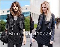 kim kardashian Celebrity Style jessica Fashion Drape S.Zipper Leather Black Biker jacket coat
