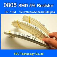 0805 170valuesX50pcs=8500pcs SMD Resistor Kit 0R~10M Resistor Pack 5% Torlerance Free Shipping