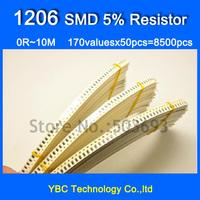 1206 170valuesX50pcs=8500pcs SMD Resistor Kit 0R~10M Resistor Pack  5% Torlerance Free Shipping