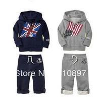 2013NEW wholesale  The boy hooded flag set,2pc (Coat + pants ) boy's  long suit ,  2 color can  choose 4set/lot Free Shipping