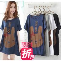 Free Shipping Mm plus size clothing summer medium-long batwing loose short-sleeve shirt bow T-shirt female